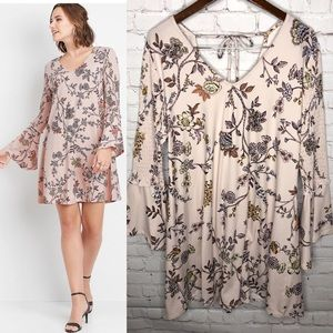 Maurices Floral Smocked Bell Sleeve Dress L